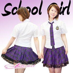 【パープル】チェックのスクールコスプレ・学生服/6102 - 拡大画像