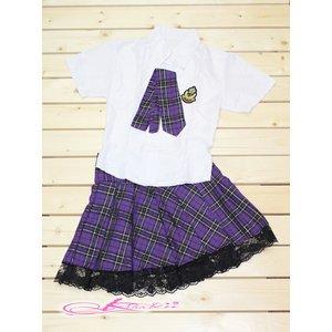 【パープル】チェックのスクールコスプレ・学生服/6102