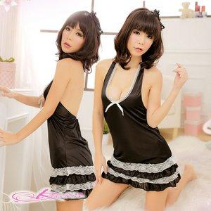 【ブラック×ホワイト】裾4層デザインのベビードール&Tショーツ・ランジェリーセット/8447 - 拡大画像