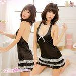 【ブラック×ホワイト】裾4層デザインのベビードール&Tショーツ・ランジェリーセット/8447