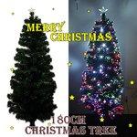 【クリスマス】 LEDファイバークリスマスツリー/180cm/白LED/緑