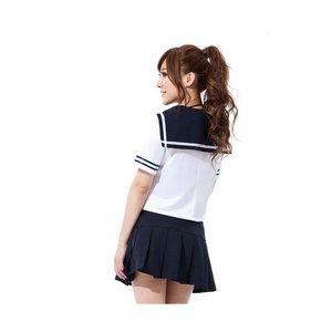 【紺✕白】赤いスカーフ付セーラー服・コスプレ・学生服 6115