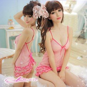 裾フリルピンクのベビードール&Tバック/ランジェリー  8703 - 拡大画像