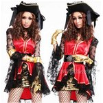 【赤ゴールド】海賊☆グローブとベルト付★コスプレ  4265