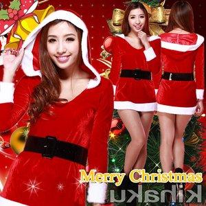 【クリスマスコスプレ】ベルト付 サンタコスプレ☆クリスマス長袖 9420 - 拡大画像