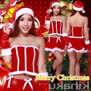 【クリスマスコスプレ】アームウォーマー付編み上げ サンタコスプレ☆9418 - 拡大画像
