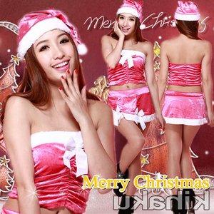 【クリスマスコスプレ】白いリボン付 ピンクのサンタコスプレ☆9412 - 拡大画像