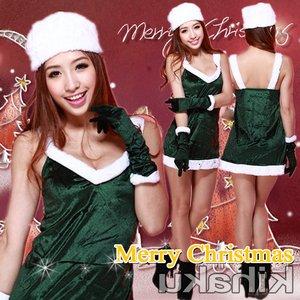 【クリスマスコスプレ】グローブ付 緑のサンタコスプレ☆9410 - 拡大画像