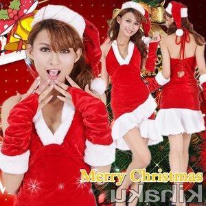 【クリスマスコスプレ】アームウォーマー付 サンタコスプレ☆9406 - 拡大画像