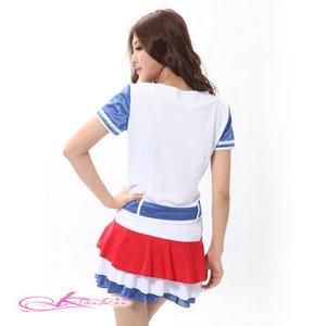 【白赤】ベルト付チアガールコスプレ(3点)8061