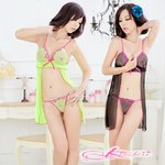 2color【ブラック】胸元刺繍のベビードールとTバック コスプレ 8326-2