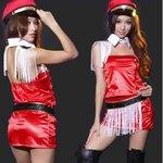【赤】 2color☆帽子とベルト付コスプレ 制服【5394】