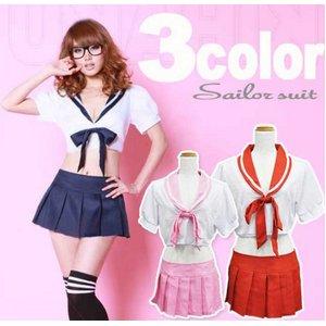 3colorピンク  リボン付 セーラー服 コスプレ 学生服【6111】 - 拡大画像
