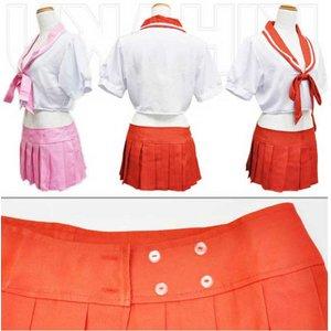 3color紺  リボン付 セーラー服 コスプレ 学生服【6111】