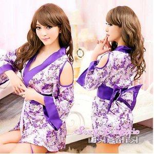 【紫】  着物 コスプレ 浴衣 【4039】 - 拡大画像