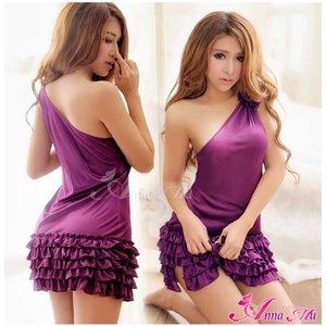 【紫】 z1299 ドレス ワンピース ボディコン ランジェリー - 拡大画像