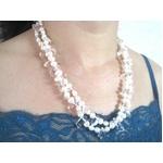 特選!二連パールネックレス(50cm/ホワイト&水晶):上海オーダーメイドジュエラー発
