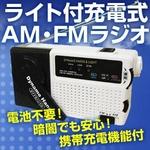 【防災・停電・被災地に最適】電池不要!ライト付充電式AM・FMラジオ 携帯充電機能付