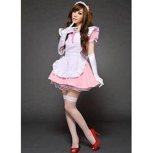 コスプレ グローブ付ピンクのメイドさんコスチューム4点セット