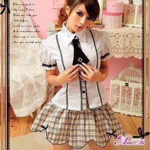 コスプレ お嬢様系私立制服☆茶色チェックスクールガール☆学生服コスプレ - 拡大画像