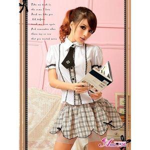 コスプレ お嬢様系私立制服☆茶色チェックスクールガール☆学生服コスプレ