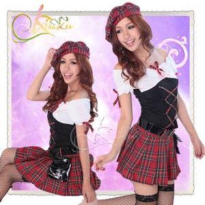 コスプレ ベルト&帽子付赤チェックの学生服コスプレ・女子高校(4点入り)