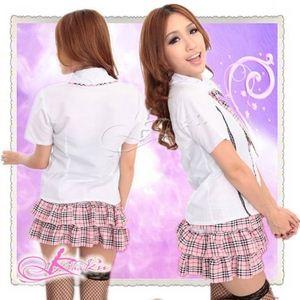 コスプレ ネクタイ付ピンクチェックフリルスカートの学生服