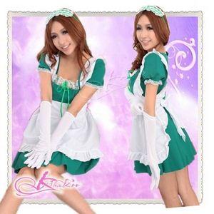コスプレ 緑 グローブ&エプロン付アキバ系メイド服