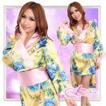 コスプレ ピンク帯付花柄仕上げの浴衣・着物コスプレ【2点入り】