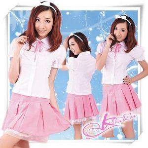 コスプレ リボン付チェリーピンクスカートの女子高校コスプレ・学生服【3点入り】