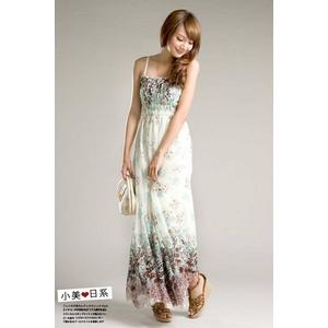 花柄ワンピース★ホワイト/XLサイズ