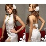 コスプレ セクシー☆ホワイトチャイナドレス Tバック付 Mサイズ