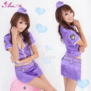 コスプレ セクシーミニスカポリスコスチューム3点セット 帽子付  紫色 フリーサイズ - 拡大画像
