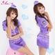 コスプレ セクシーミニスカポリスコスチューム3点セット 帽子付  紫色 フリーサイズ - 縮小画像1