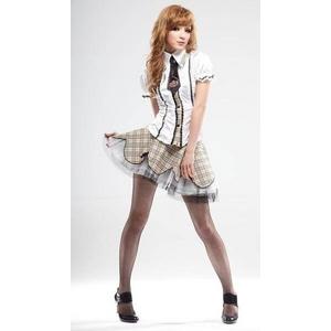 茶色チェックミニスカ 制服コスプレ4点セット(ブラウス スカート ネクタイ Tバック) 半袖 コスチューム - 拡大画像