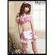 セクシーメイドコスプレ ピンクチェックコスチュームセット(トップス スカート 髪飾り 首輪 アームリング) - 縮小画像2