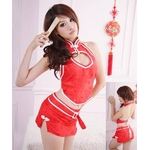 胸元セクシー☆ミニスカチャイナコスプレ4点セット レッド