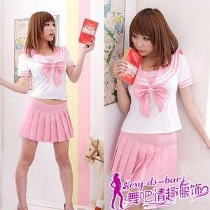 コスプレ 女子高生ミニスカセーラー服コスチューム ピンク Tバックセット - 拡大画像