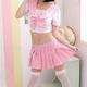 コスプレ 女子高生ミニスカセーラー服コスチューム ピンク Tバックセット - 縮小画像3