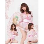 超セクシー☆シースルー着物セット 白×ピンク コスプレ