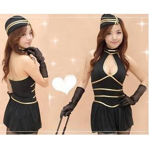 胸元セクシー☆スチュワーデスコスプレ3点セット - 拡大画像