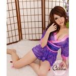 超セクシー☆花柄レース着物セット☆紫×ピンク コスプレ