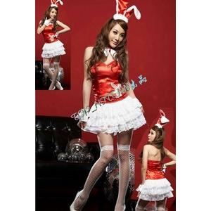 2010年新作クリスマス☆サンタバニーガール4点セット・赤 コスプレ - 拡大画像