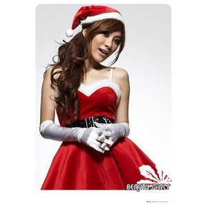 クリスマス☆サンタクロースミニスカワンピ4点セット コスプレ - 拡大画像