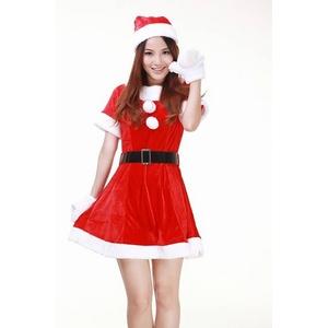 クリスマス☆サンタクロースミニスカワンピコスチューム4点セット コスプレ - 拡大画像