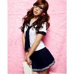 女子高生☆ミニスカセーラー服コスチューム ネイビー コスプレ