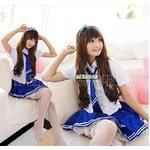 女子高生ミニスカ制服コスチューム☆ブルー コスプレ