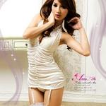 2010新作 胸元刺繍ホワイトランジェリー4点セット コスプレ