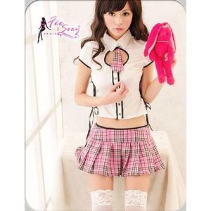ピンクスカートが超可愛い!スクール系コスプレセーラー服3点SET