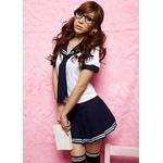 スクール系純真な女の子制服♪Tパック付3点set☆コスプレ skr7
